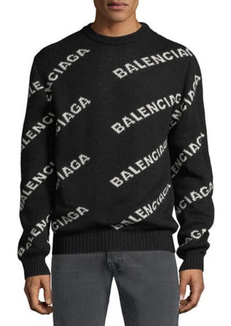 Balenciaga Men's Intarsia Logo Wool Sweater