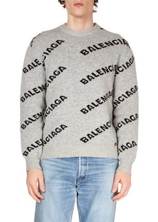 Balenciaga Men's Intarsia Logo Wool Sweater