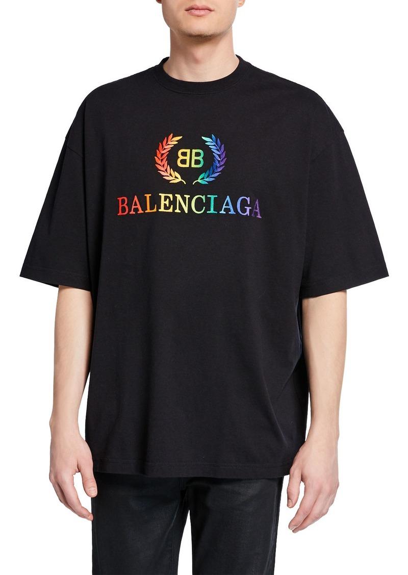 2c0b3afc Balenciaga Balenciaga Men's Rainbow Logo Graphic T-Shirt | Casual Shirts