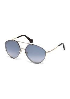 Balenciaga Metal Geometric Aviator Flash Sunglasses