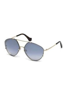 Balenciaga Metal Geometric Aviator Flash Sunglasses