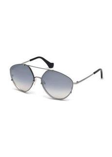 Balenciaga Metal Geometric Aviator Sunglasses