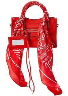 Balenciaga Metallic Edge City Scarf Mini Leather Shoulder Bag
