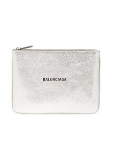 Balenciaga Metallic-leather logo pouch