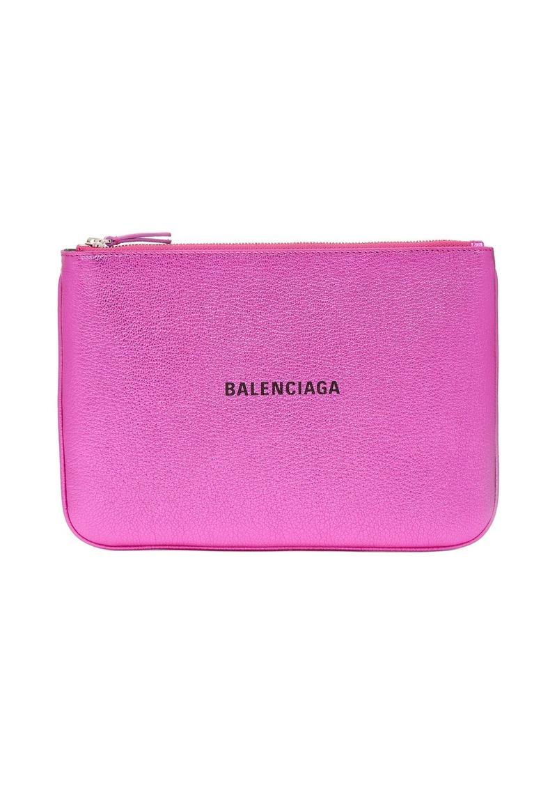 Balenciaga Metallic-leather logo pouch
