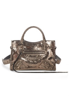Balenciaga Metallic Mini City Croc Embossed Leather Bag