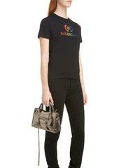 Balenciaga Metallic Mini City Croc Embossed Leather Bag