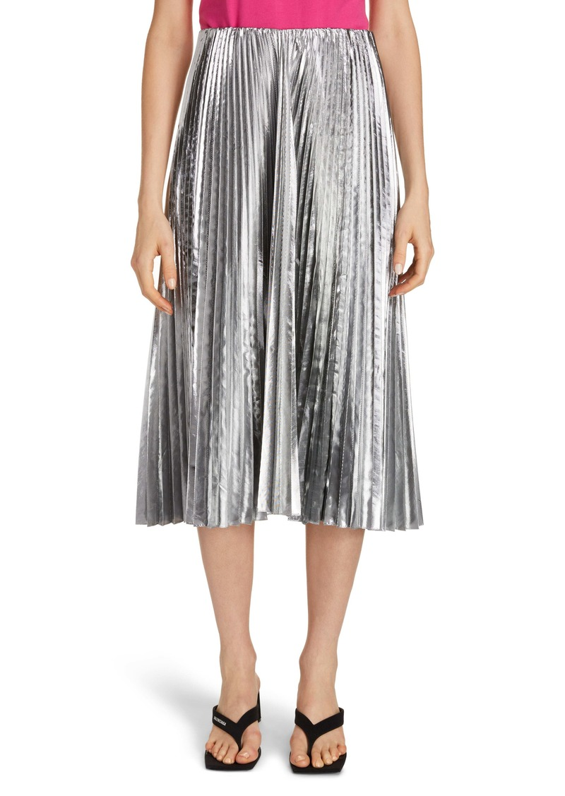 Balenciaga Metallic Pleated Wool Blend Midi Skirt