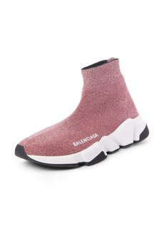 Balenciaga Mid Speed Metallic Sock Sneaker (Women)