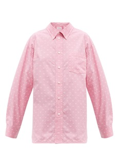 Balenciaga Mini BB-print oversized cotton-poplin shirt