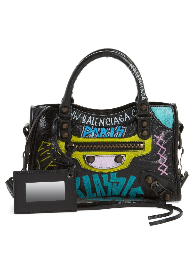 Balenciaga Balenciaga Mini City Graffiti Leather Tote