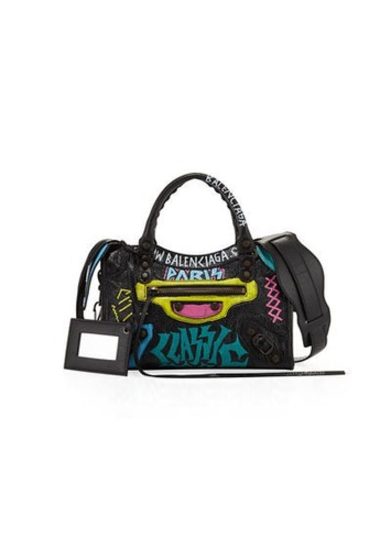 Balenciaga Mini City Graffiti-Print Satchel Bag
