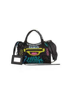 Balenciaga Mini City Graffiti-Print Satchel Bag