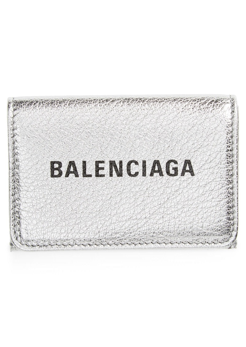 Balenciaga Mini Everyday Metallic Leather Wallet
