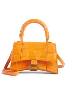 Balenciaga Mini Hourglass Croc Embossed Leather Top Handle Bag