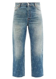 Balenciaga Monogram-logo cropped jeans