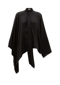 Balenciaga Montaigne pussy-bow silk-jacquard blouse