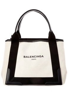 Balenciaga Navy Cabas Small Canvas & Leather Tote
