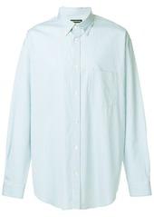 Balenciaga logo-print striped oversized shirt - Blue