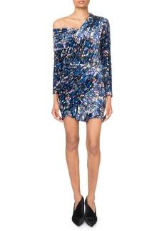 Balenciaga One-Shoulder Painted-Oval Velvet Mini Dress