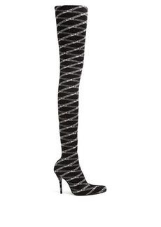 Balenciaga Over-the-knee logo-jacquard boots