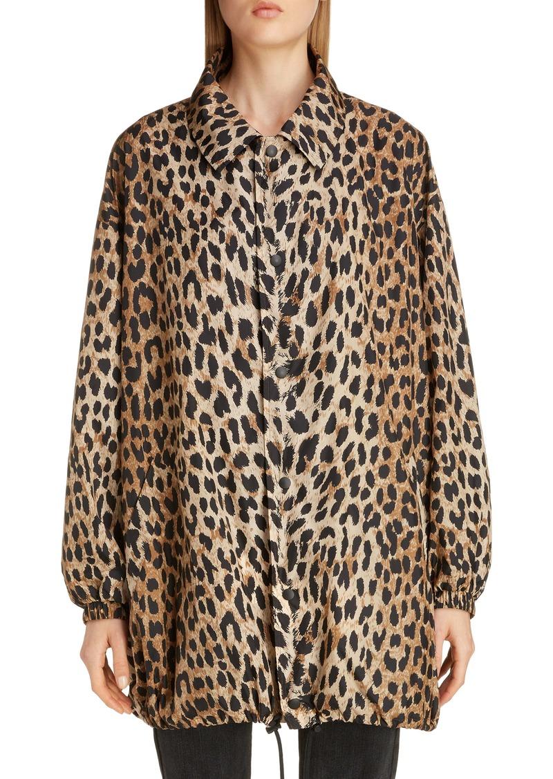 Balenciaga Oversize Leopard Print Nylon Windbreaker