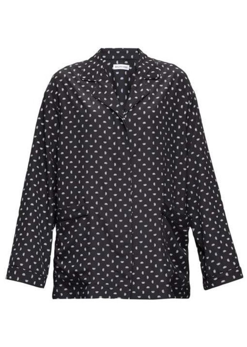 Balenciaga Oversized BB logo-print crepe blouse