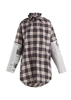 Balenciaga Oversized checked brushed-cotton shirt