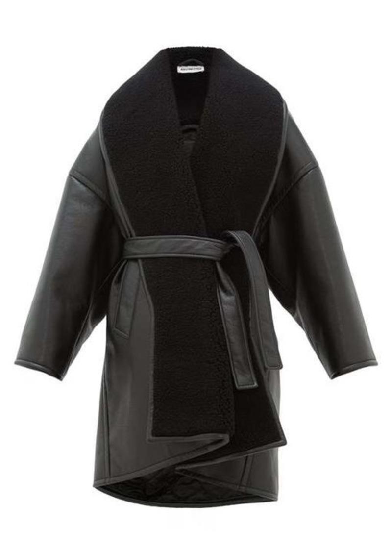 Balenciaga Oversized faux-leather wrap coat