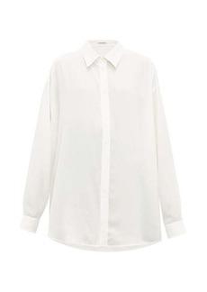 Balenciaga Oversized logo-print silk shirt