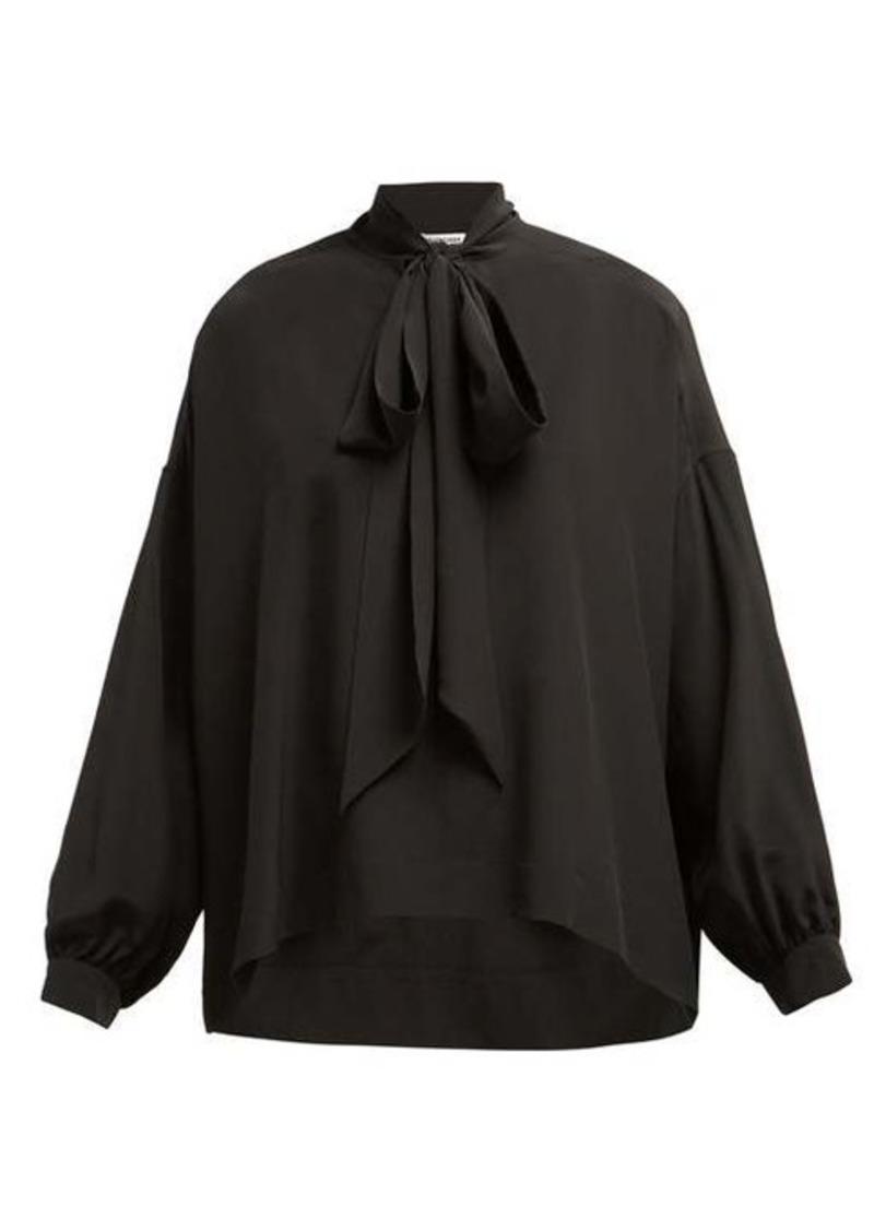 Balenciaga Oversized pussy-bow silk-crepe blouse