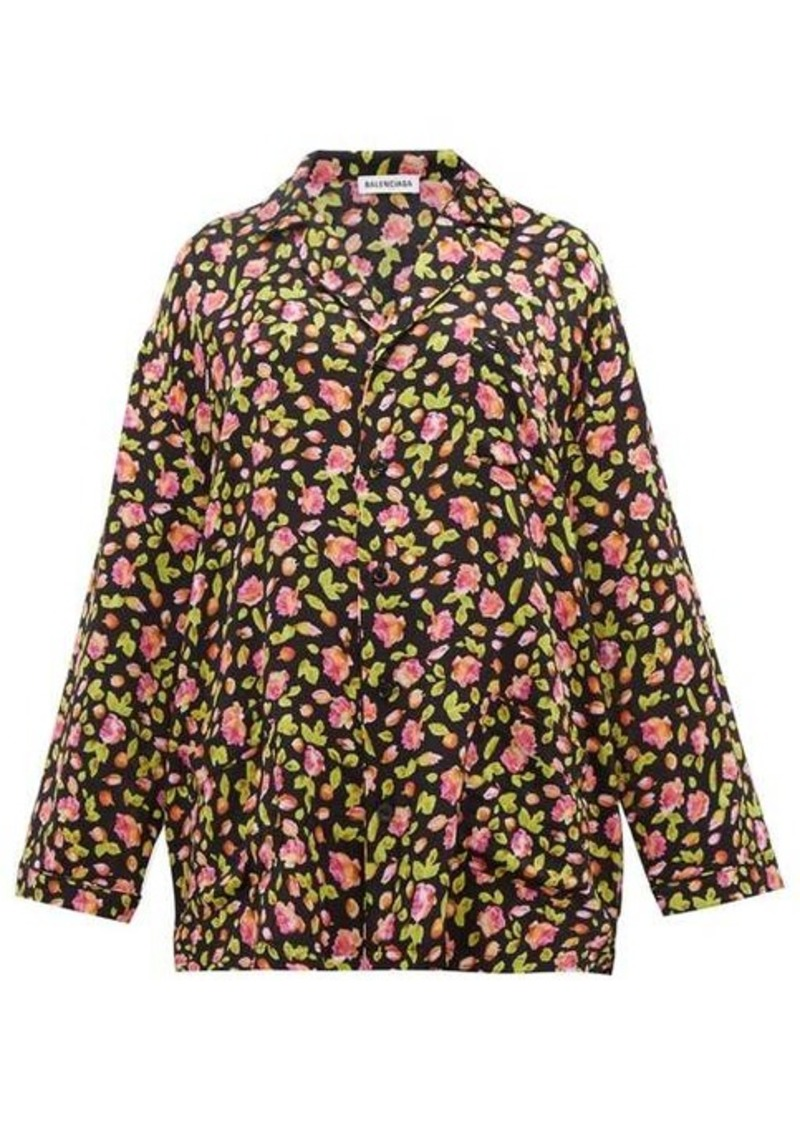 Balenciaga Oversized rose-jacquard silk shirt