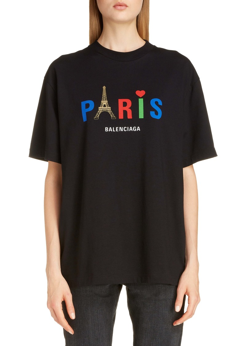 Balenciaga Paris Love Logo Graphic Oversized Cotton Tee