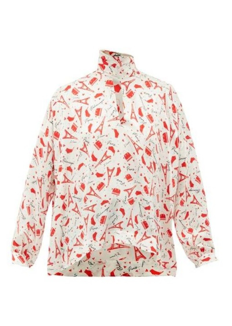 Balenciaga Paris-print tie-neck silk blouse