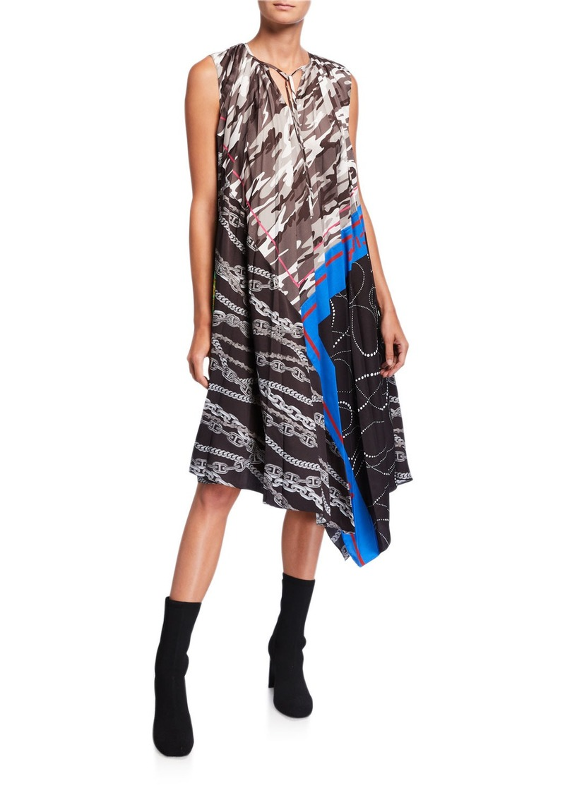 Balenciaga Patchwork Asymmetric Trapeze Crewneck Dress