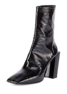 Balenciaga Patent Square-Toe Block-Heel Bootie