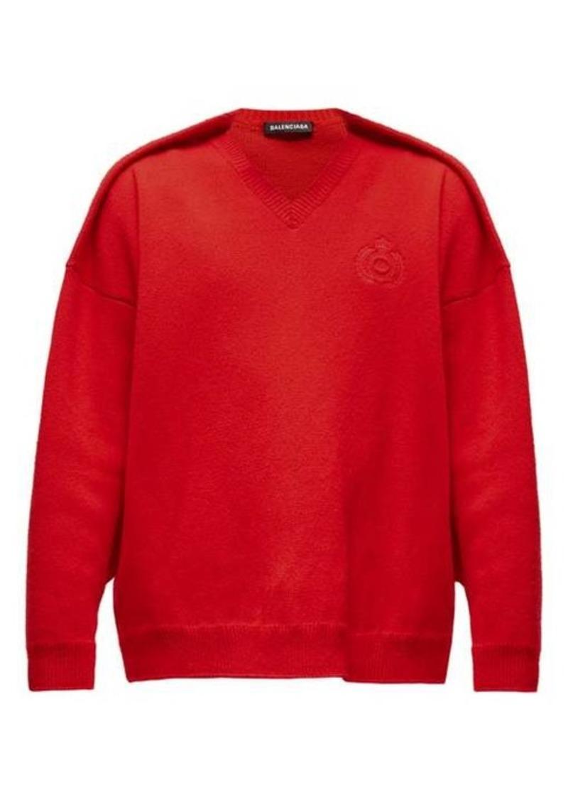 Balenciaga Embroidered crest-logo sweater