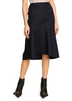 Balenciaga Pinstriped Twill Flounce Skirt