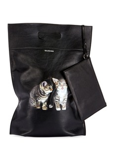 Balenciaga Plast Small Leather Shopper Tote Bag with Kitten Animal Graphic