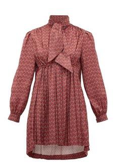 Balenciaga Pleated high-neck paisley-print satin mini dress