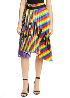 Balenciaga Pleated Rainbow & Chain Print Twill Skirt
