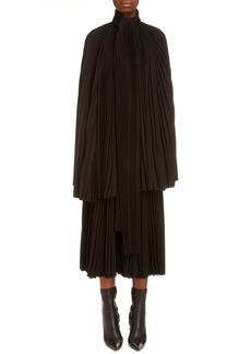Balenciaga Pleated Tie Neck Blouse