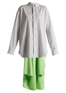Balenciaga Point-collar draped-detail striped shirt