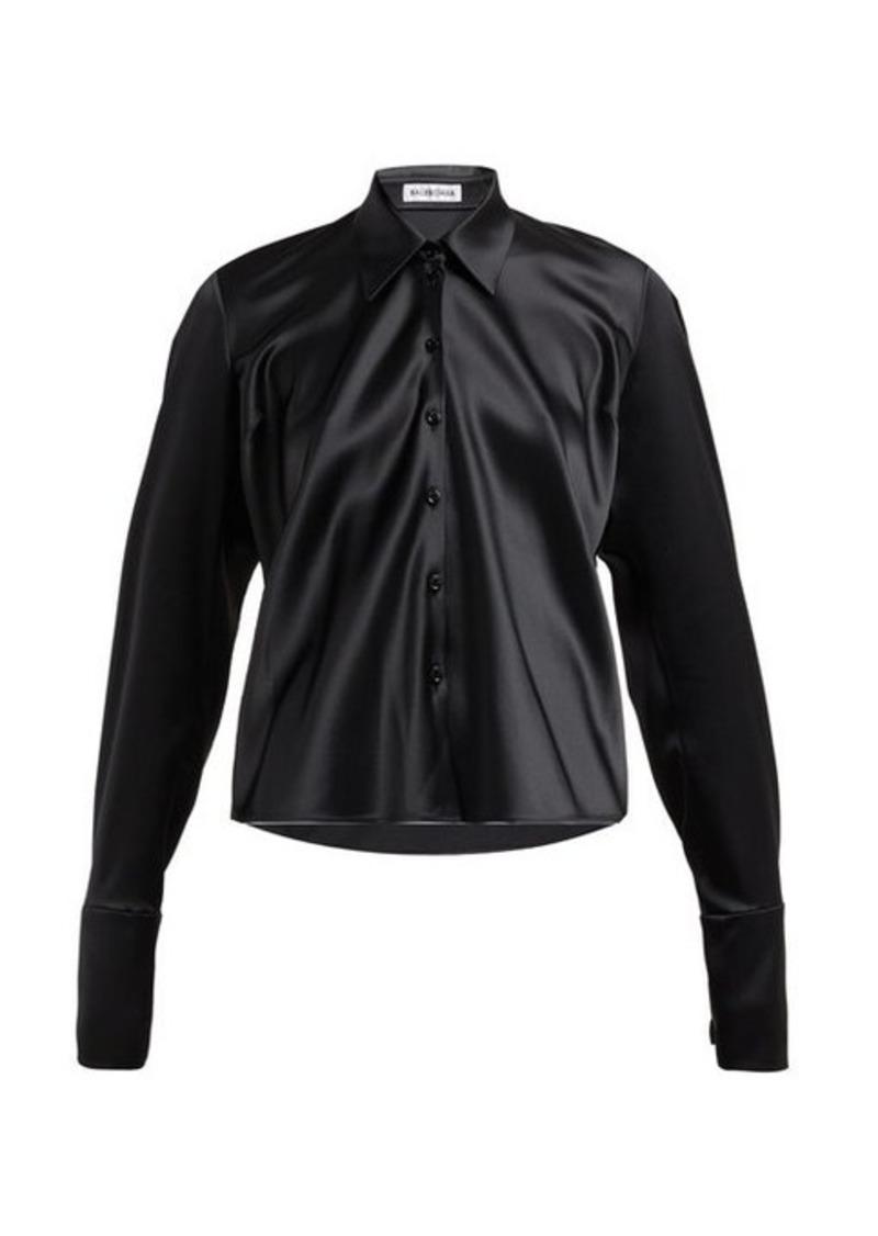 Balenciaga Point-collar satin blouse