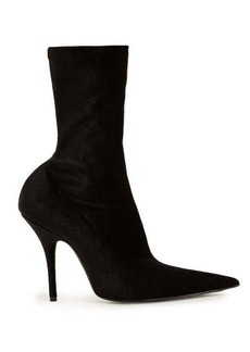 Balenciaga Point-toe velvet sock ankle boots