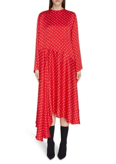 Balenciaga Polka Dot Asymmetrical Long Sleeve Midi Dress