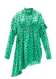 Balenciaga Polka-dot gathered silk-satin dipped-hem dress