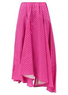 Balenciaga Polka-dot jersey midi skirt