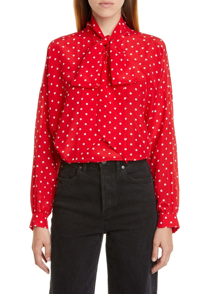 Balenciaga Polka Dot Tie Neck Silk Blouse