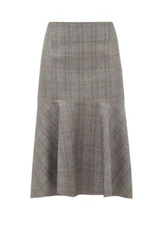 Balenciaga Prince of Wales-check wool midi skirt